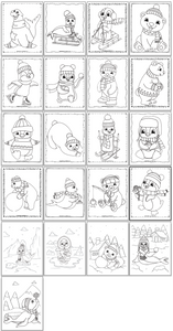 A screenshot with a grid of 21 prinabel cute winter animal coloring pages with cartoon penguins, polar bears, and seals to color
