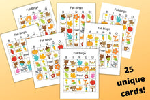 Load image into Gallery viewer, 25 Fall Harvest Bingo Cards - Classroom Set of Fall Bingo Games