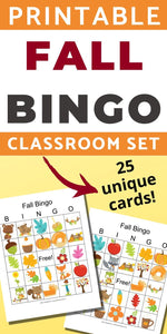 25 Fall Harvest Bingo Cards - Classroom Set of Fall Bingo Games