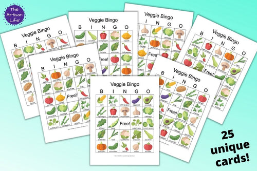 25 Printable Vegetable Bingo Boards - Classroom set