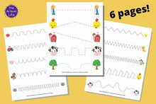 Load image into Gallery viewer, Farm Pre-Writing Practice & Tracing Worksheets for Toddlers & Preschool