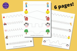 Farm Pre-Writing Practice & Tracing Worksheets for Toddlers & Preschool
