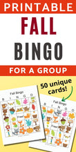 Load image into Gallery viewer, 50 Fall Bingo Cards - Harvest Festival Bingo for a Group