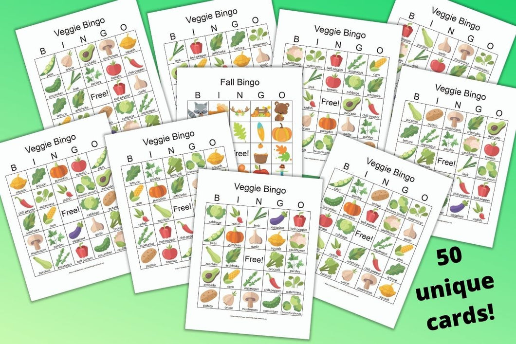 50 Vegetable Bingo Boards for a Group