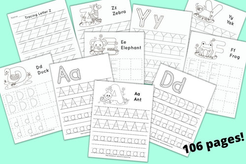 a mockup preview of ten printable pages of alphabet tracing worksheets with dotted letters to trace