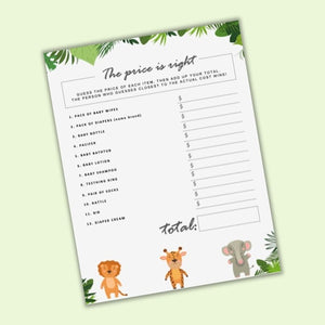 The Price Is Right Baby Shower Game Printable - Gender Neutral Safari Theme