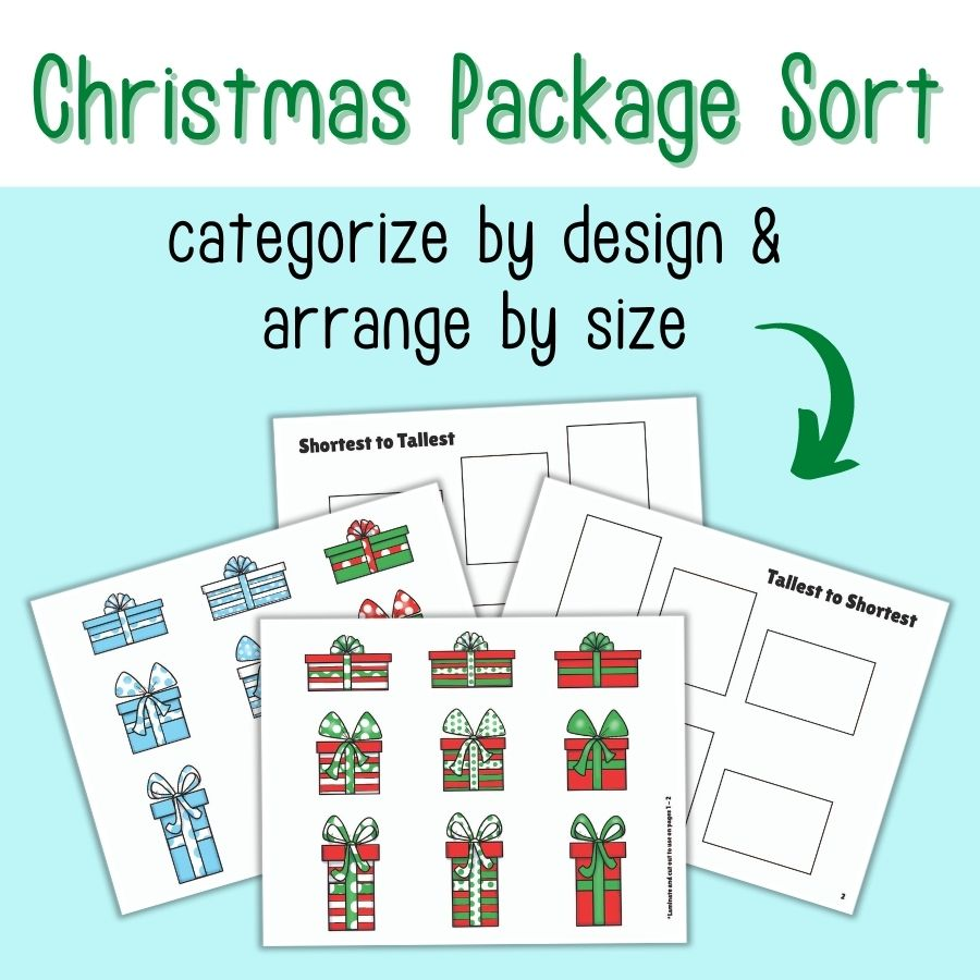 Christmas Package Size Sort Printables for Preschoolers