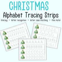 Load image into Gallery viewer, Christmas Alphabet Tracing Strips - Uppercase and Lowercase Letter Tracing