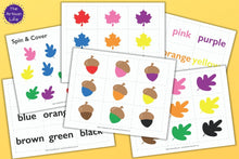 Load image into Gallery viewer, Fall Color Matching Games - Leaf, Acorn, and Sight Word Color Matching Preschool Pack
