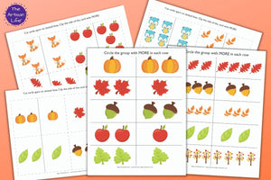 Fall More or Less Preschool Math Printables