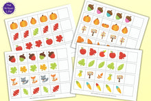 Load image into Gallery viewer, A preview of four pattern extension printables for preschool and pre-k with a fall theme