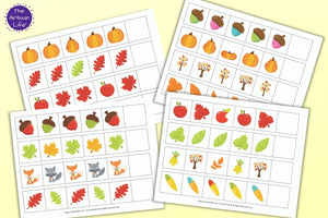 A preview of four pattern extension printables for preschool and pre-k with a fall theme