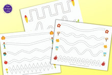 Load image into Gallery viewer, Fall Fine Motor Tracing Sheets - Trace in the Path Worksheet for Preschool