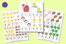 Load image into Gallery viewer, a set of three farm themed counting clip card printables for preschool. The images are cartoonish and numbers are 1-12