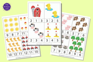 a set of three farm themed counting clip card printables for preschool. The images are cartoonish and numbers are 1-12