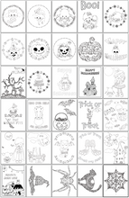 Load image into Gallery viewer, Printable Halloween Coloring Pages - 30 Halloween coloring sheets for kids & adults