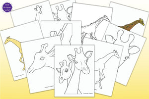 A preview of eight black and white giraffe outlines and two colored giraffe templates on a yellow background