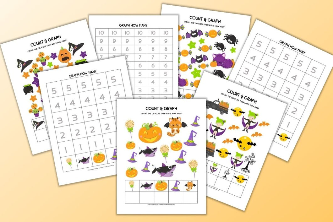 Halloween Count & Graph 1-5 and 1-10
