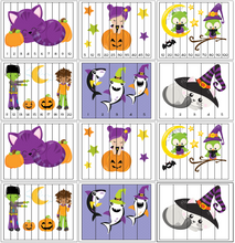 Load image into Gallery viewer, Halloween Theme Number Order Puzzles - 1-20, skip counting, and fillable versions