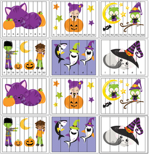 Halloween Theme Number Order Puzzles - 1-20, skip counting, and fillable versions