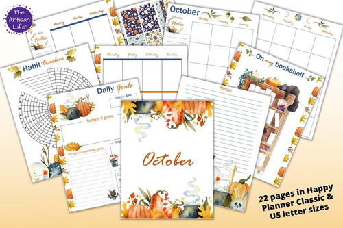 October Planner Printable Kit - Happy Planner Classic & US Letter