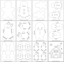 Load image into Gallery viewer, Gingerbread man templates & coloring pages