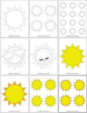 Load image into Gallery viewer, Printable Sun Templates