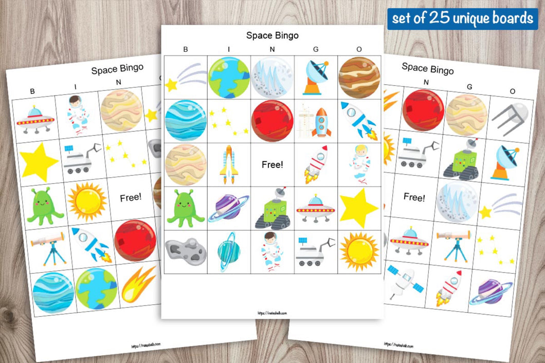 25 Printable Space Bingo Boards - Space Birthday Party Bingo