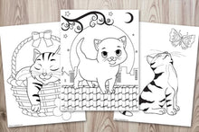 Load image into Gallery viewer, Printable Cute Cat Coloring Book