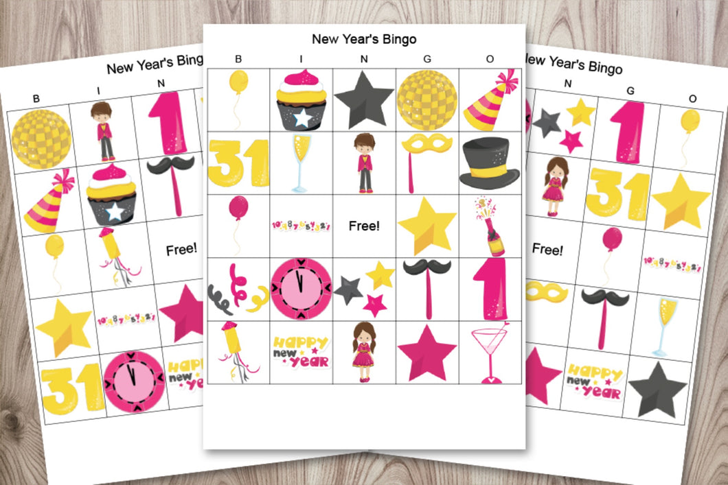 20 New Year's bingo cards