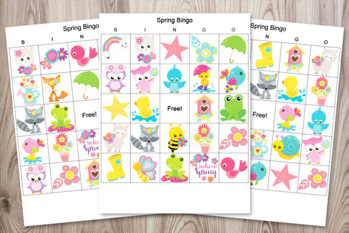 Spring Bingo Boards - Classroom set of 30 printable bingo games for spring