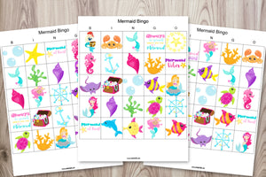 30 Printable Mermaid Bingo Cards