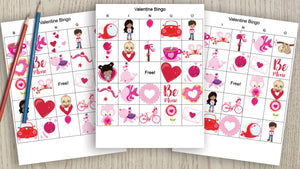Valentine's Day Bingo Cards - 25 unique picture bingo cards