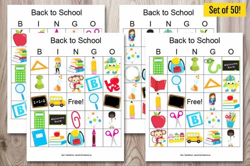 50 Back to School Bingo Cards for a large group