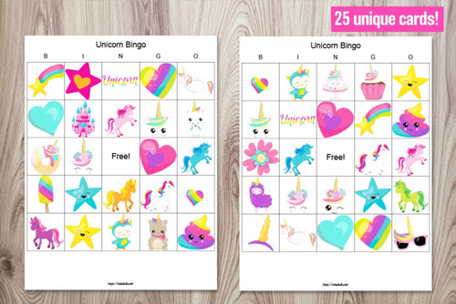 25 Unicorn Bingo Boards - Unicorn party game printable