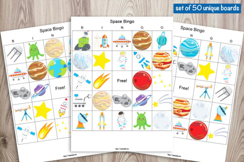 50 Printable Space Bingo Boards for a Large Group