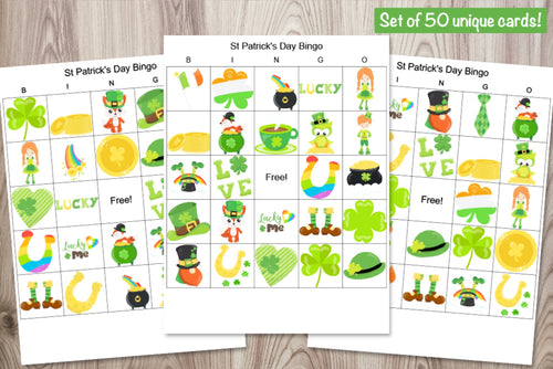 50 Patrick's Day Picture Bingo Cards
