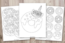 Load image into Gallery viewer, 10 Printable Doughnut Coloring Pages