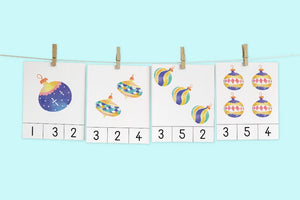 Christmas Ornament Count & Clip Cards