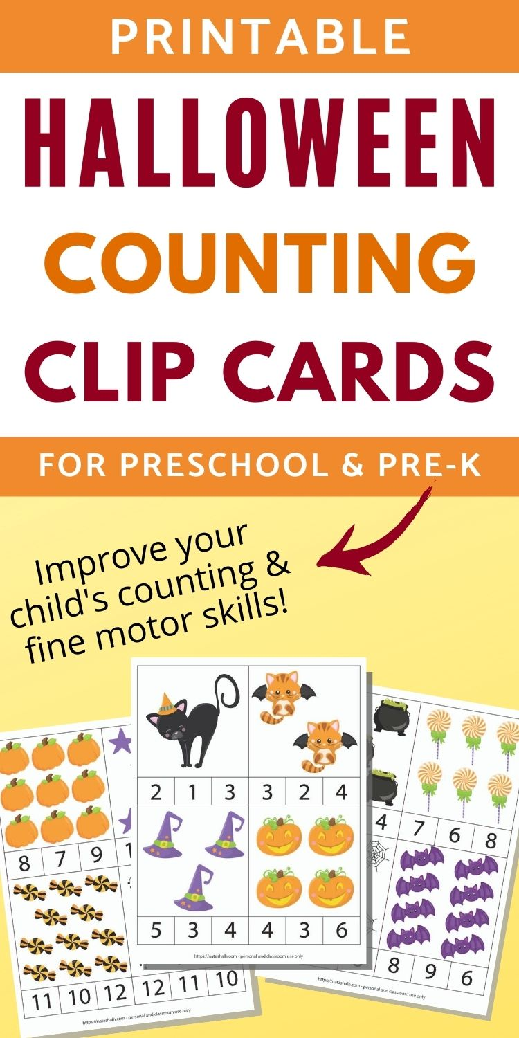 Halloween Counting Clip Cards 1-12