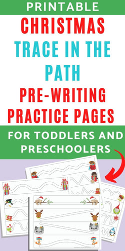 Christmas Trace in the Path Fine Motor Pre-Writing Practice Pages