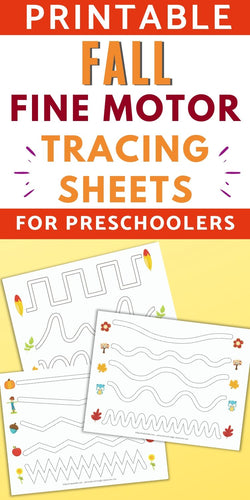 Fall Fine Motor Tracing Sheets - Trace in the Path Worksheet for Preschool