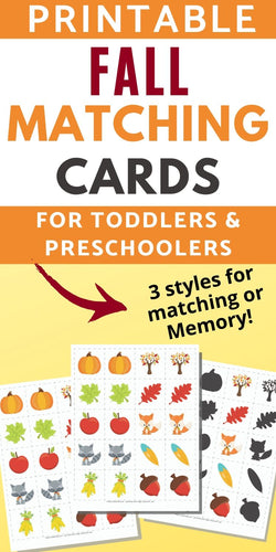 Fall Matching & Memory Game for Toddlers and Preschoolers