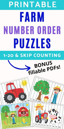 Farm Theme Number Order Puzzles 1-20, skip counting, and fillable PDF