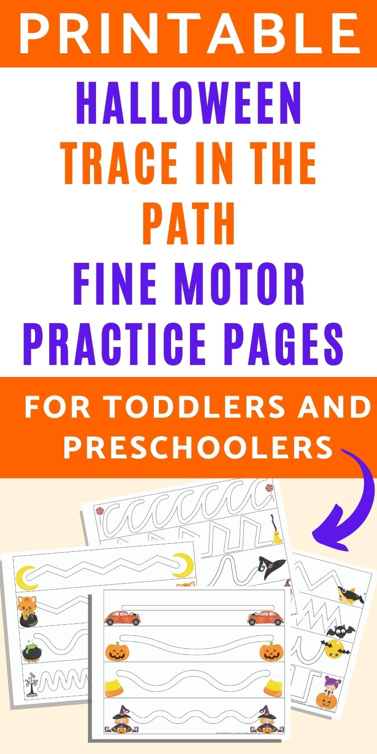 Halloween Trace in the Path Fine Motor Worksheets for Toddlers & Preschoolers
