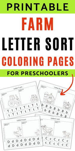 Farm Themed Letter Sort Coloring Printables