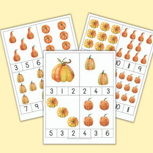 Pumpkin Theme Counting Clip Cards for Preschool