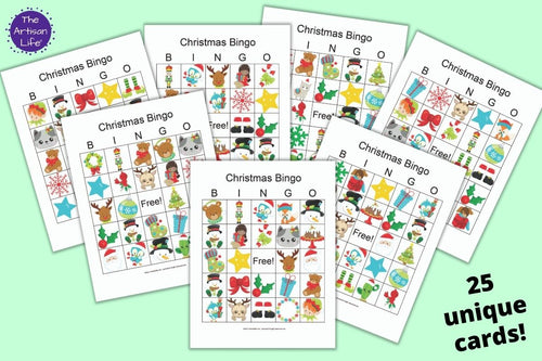 Christmas Bingo Cards - Classroom Set of 25 unique picture bingo cards