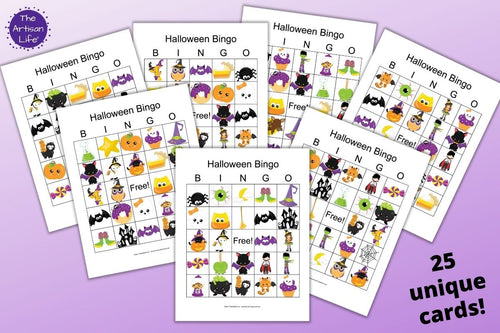 Classroom Set of 25 Halloween bingo cards