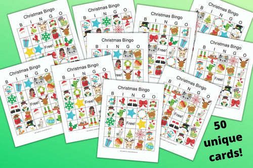 50 Christmas Bingo Cards for a Large Group